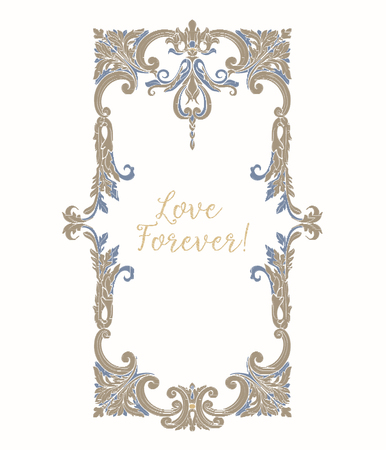 Embroidery with blue and beige vintage frame Illustration