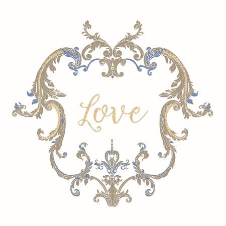 Broderie avec cadre vintage bleu et beige Banque d'images - 81970723