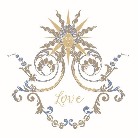 Borduurwerk met blauw en beige vintage frame