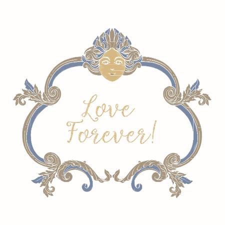 ブルーとベージュのビンテージ フレーム刺繍