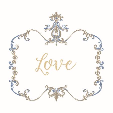 Broderie avec cadre vintage bleu et beige Banque d'images - 81969959