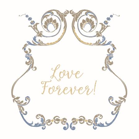 Broderie avec cadre vintage bleu et beige Banque d'images - 81969958