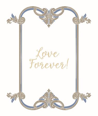 Broderie avec cadre vintage bleu et beige Banque d'images - 81969960
