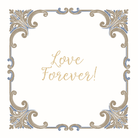 Embroidery with blue and beige vintage frame Иллюстрация