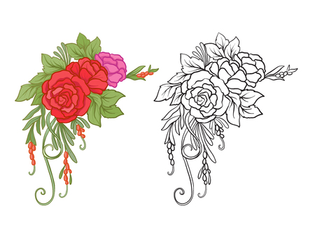Set of colored and outline bouquet of flowers