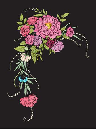 Bloemen samenstelling. Borduurwerk Stock Illustratie