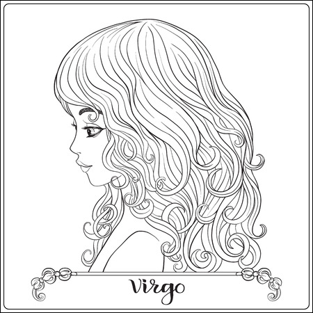 Virgo: A young beautiful girl In the form of one of the signs of the zodiac.  Outline hand drawing coloring page for adult coloring book, stock line vector illustration.