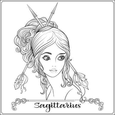 Sagittarius,  archer: A young beautiful girl In the form of one of the signs of the zodiac.  Outline hand drawing coloring page for adult coloring book stock line vector illustration.