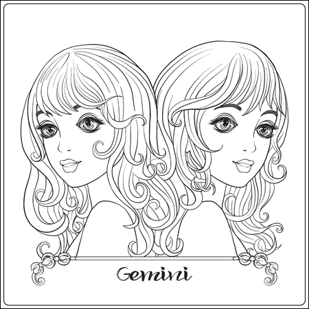Gemini,  twins; A young beautiful girls In the form of one of th Ilustracja