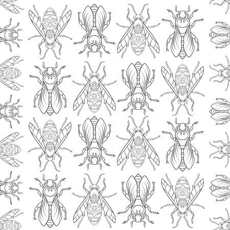 Bees. Seamless pattern, background. Иллюстрация