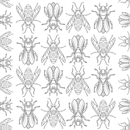 Bees. Seamless pattern, background. Illustration
