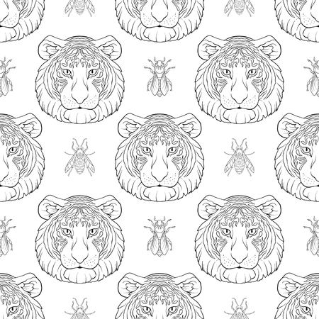Tiger and bees. Seamless pattern, background.
