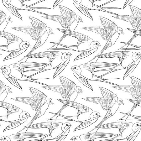 Swallow, birds. Seamless pattern, background. Illustration