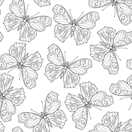 Butterflies. Seamless pattern, background. Outline hand drawing