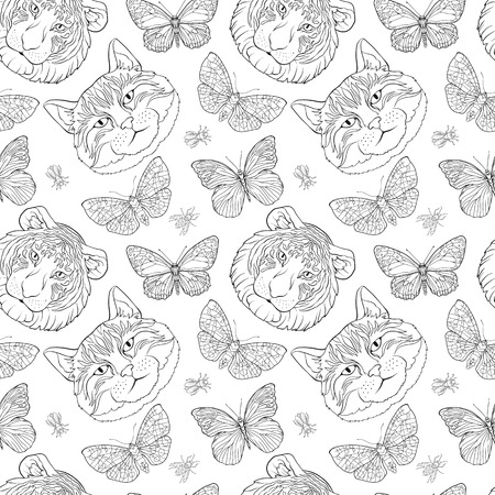 Tiger, cat, butterfly and bees. Seamless pattern, background.