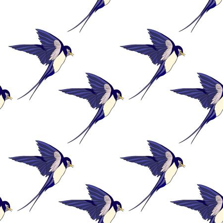 제비, 새. 다채로운 원활한 패턴, 배경입니다. 일러스트