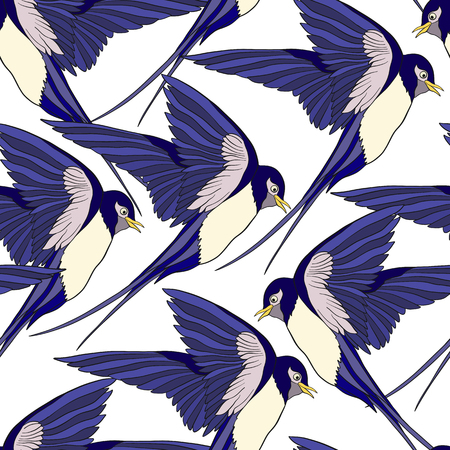 Swallow, birds. Colorful seamless pattern, background.