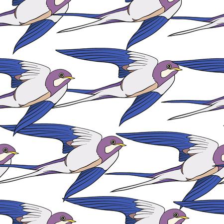 鳥を飲み込みます。カラフルなシームレス パターン、背景。  イラスト・ベクター素材