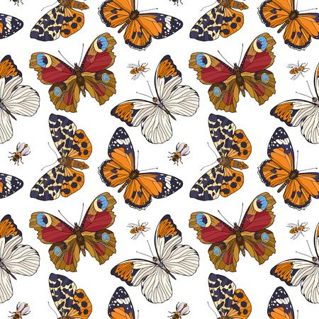 蝶と蜂。カラフルなシームレス パターン、背景。