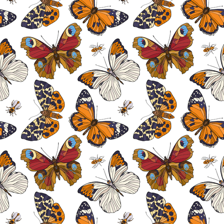 Butterflies and bees. Colorful seamless pattern, background.