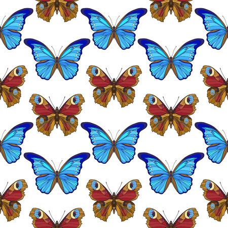蝶。カラフルなシームレス パターン、背景。
