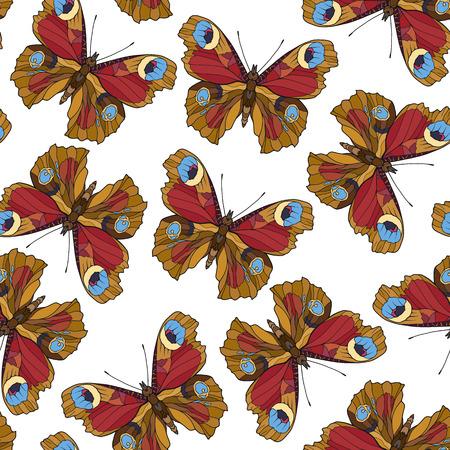 Butterflies. Colorful seamless pattern, background. Иллюстрация