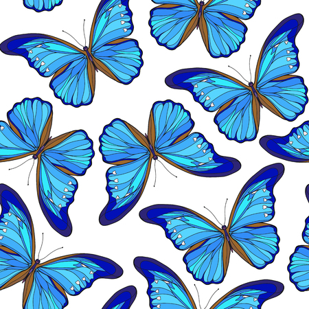 Butterflies. Colorful seamless pattern, background. Ilustração