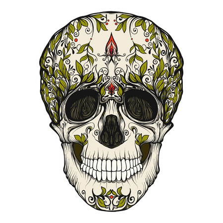 Sugar skull. The traditional symbol of the Day of the Dead. Stoc Ilustracja
