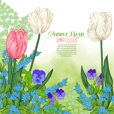 Composition with spring flowers: tulips, daffodils, violets, forget-me-nots in botanical style. Good for greeting card for birthday, invitation or bannerStock line vector illustration. Stock Vector - 83217439