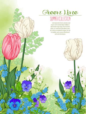 春の花のコンポジション: チューリップ、水仙の花、スミレ、ワスレナグサ, 植物のスタイルで。グリーティング カード誕生日、招待状またはバナー