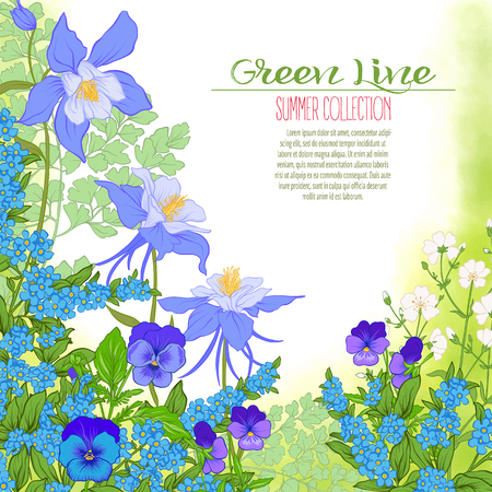 Composition with spring flowers: tulips, daffodils, violets, forget-me-nots in botanical style. Good for greeting card for birthday, invitation or banner Stock line vector illustration.