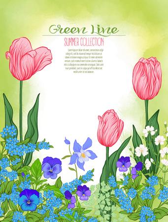 Compositie met lentebloemen: tulpen, narcissen, viooltjes, vergeet-mij-nietjes in botanische stijl. Goed voor de wenskaart voor verjaardag, uitnodiging of banner Stock line vector illustratie. Stock Illustratie