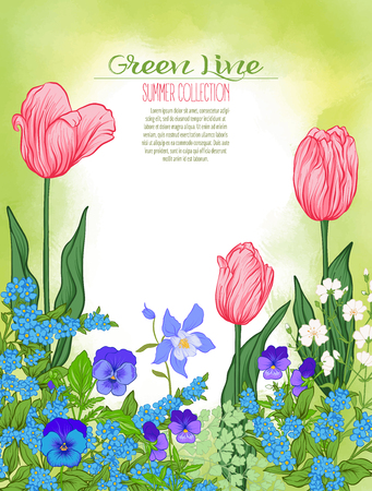 Composition with spring flowers: tulips, daffodils, violets, forget-me-nots in botanical style. Good for greeting card for birthday, invitation or bannerStock line vector illustration. Stock Vector - 83217449