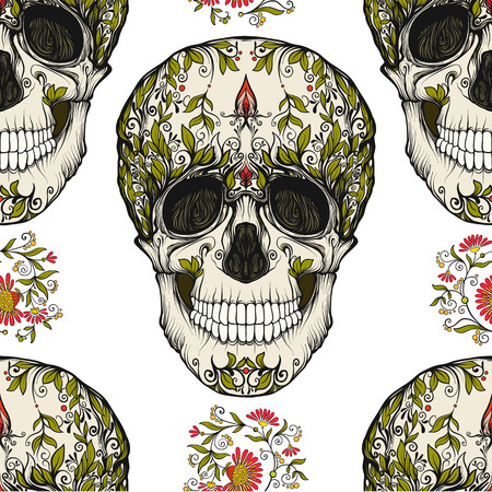 Continuous pattern, background with sugar  skull and floral pattern