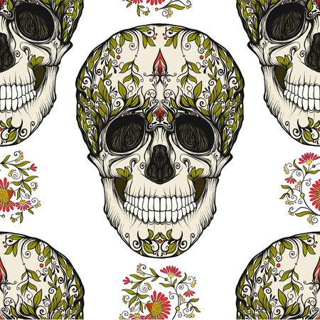 Patrón continuo, fondo con calavera de azúcar y patrón floral Foto de archivo - 83221247