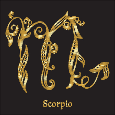 Embroidery with zodiac sign. Illustration
