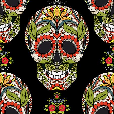 Doorlopend patroon, achtergrond met suikerschedel en bloemmotief Stock Illustratie
