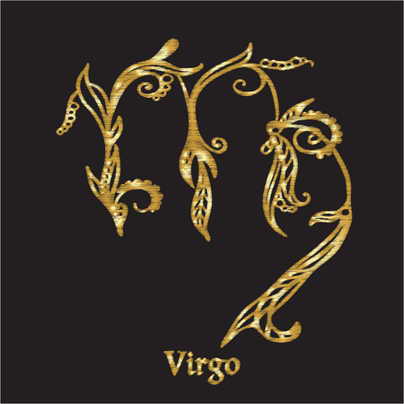 Embroidery with zodiac sign. Ilustrace