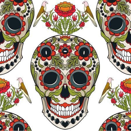 Patrón sin fisuras, fondo con cráneo de azúcar y patter floral Foto de archivo - 83221277