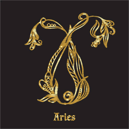 capricornus: Embroidery with zodiac sign. Illustration