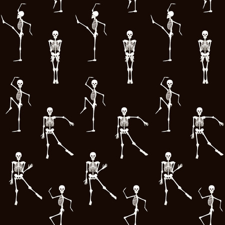Seamless pattern, background with dancing skeletons.