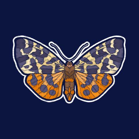 蝶。刺繍。ファキオンパッチバッジ ベクターイラスト