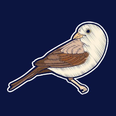 鳥。刺繍。ファチオンパッチバッジ