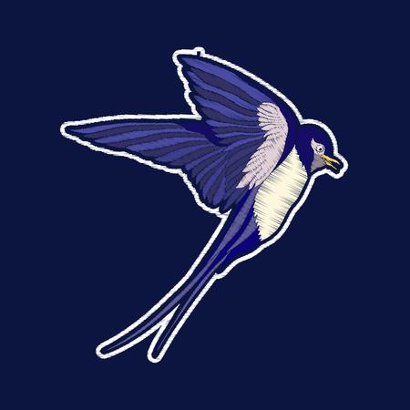 Swallow Bird.fachion patch badges Borduurwerk. Stock Illustratie