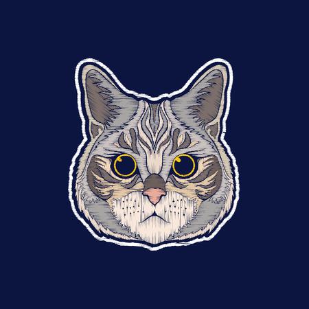 고양이. 자수. 마력 패치 배지 일러스트