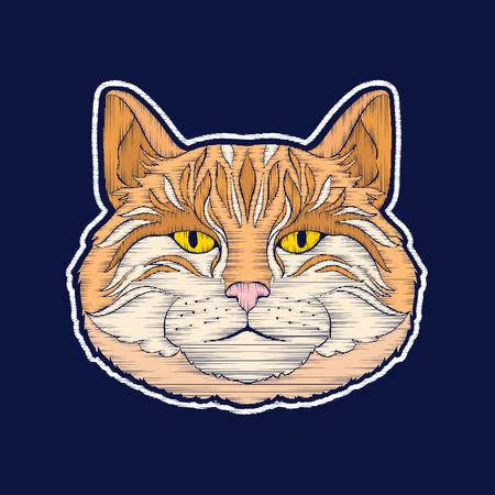 猫。刺繍。ファチオンパッチバッジ