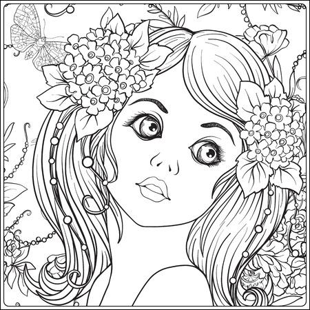 Une jeune fille belle avec une couronne de fleurs sur sa tête. Banque d'images - 83256142