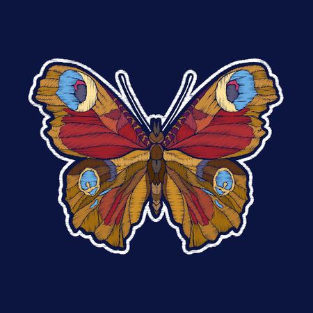 蝶。刺繍。ファチオンパッチバッジ