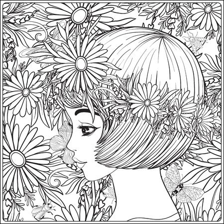 彼女の頭の上に花の花輪を持つ美しい少女。  イラスト・ベクター素材