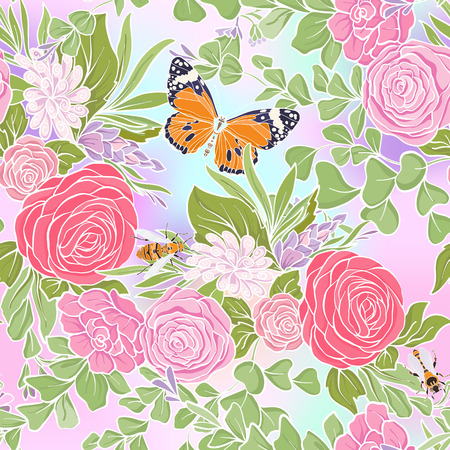 Floral seamless pattern with butterflies and bees